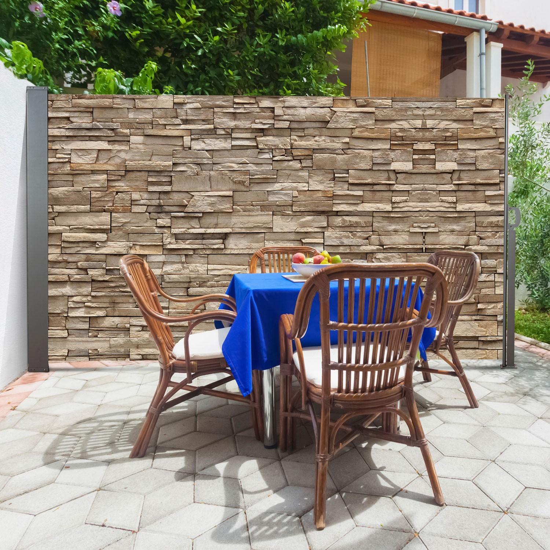 Bar Exterieur En Pierre paravent extérieur rétractable 300 x 160 cm motif pierre idmarket
