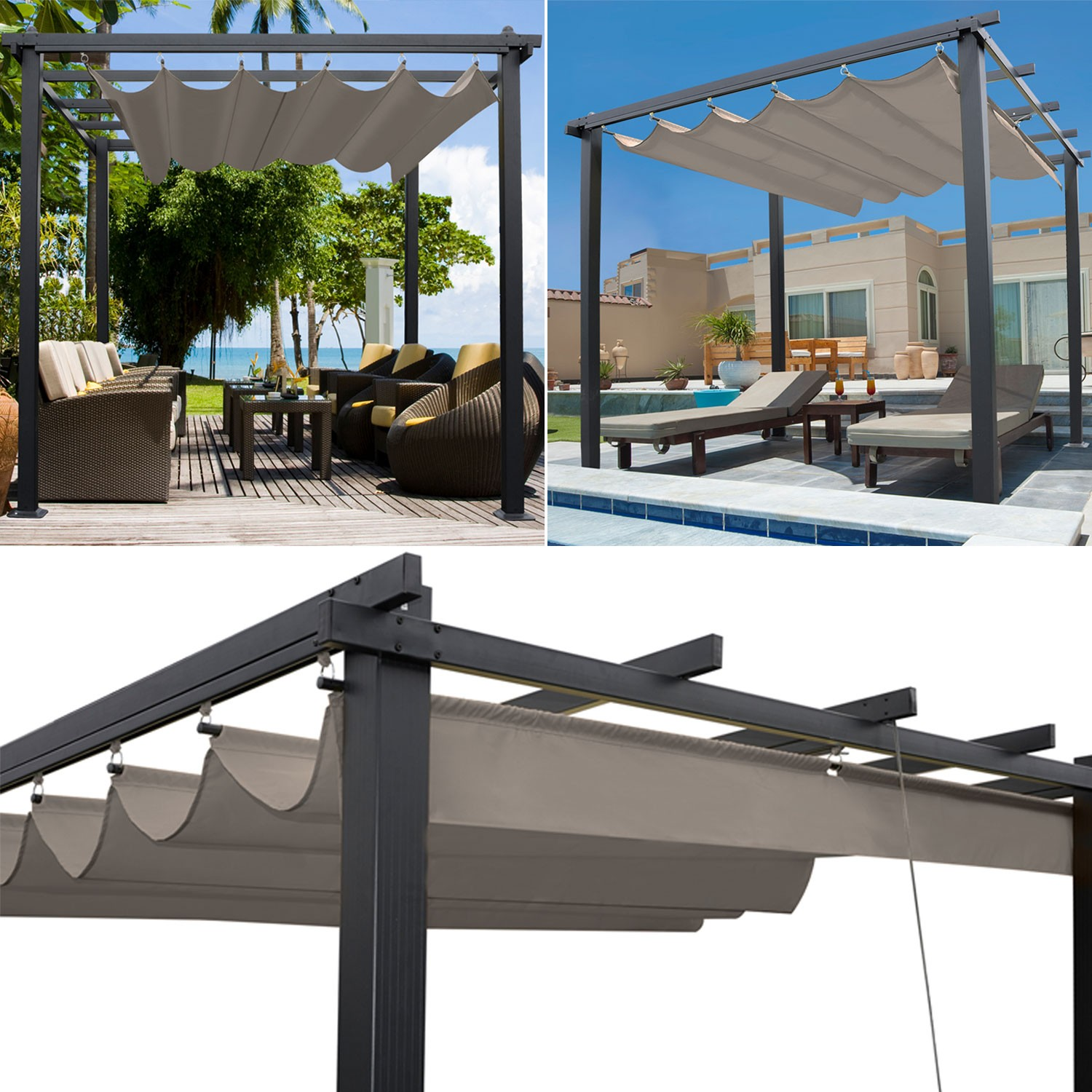 pergola toit r tractable taupe 3x3m tonnelle 4 pieds paravent et a. Black Bedroom Furniture Sets. Home Design Ideas