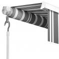 Store banne manuel 3,95 m x 3 m rayé gris blanc