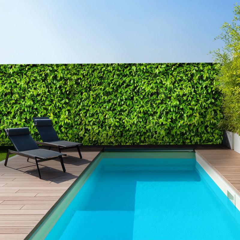 brise vue occultant 1 5 x 5m motif feuillage 160 gr m brise vues. Black Bedroom Furniture Sets. Home Design Ideas