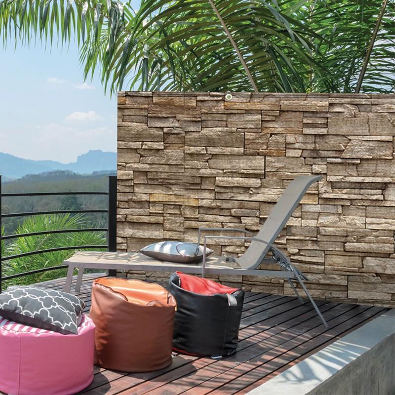 brise vue occultant 1 5 x 5m motif pierre 160 gr m brise vues et. Black Bedroom Furniture Sets. Home Design Ideas