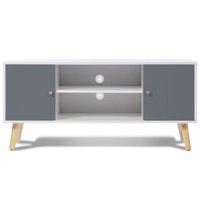 Meuble tv scandinave pas cher en bois gris et blanc id - Meuble tv en bois blanc ...