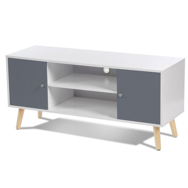 meuble tv effie scandinave bois blanc et gris meubles et. Black Bedroom Furniture Sets. Home Design Ideas
