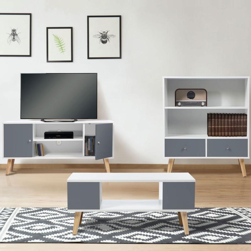 Détails sur Meuble TV EFFIE scandinave 2 portes bois blanc et gris
