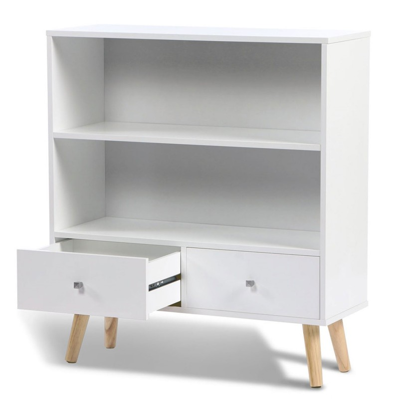 biblioth que effie scandinave bois blanc meubles et. Black Bedroom Furniture Sets. Home Design Ideas