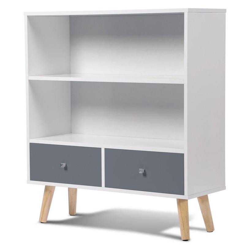 Bibliothèque EFFIE scandinave bois blanc et gris | eBay
