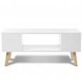 TABLE BASSE EFFIE BLANCHE / ANGLES BLANC 90X45X38CM