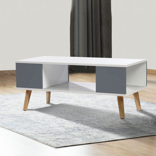 table basse scandinave pas cher bois blanc et gris effie. Black Bedroom Furniture Sets. Home Design Ideas