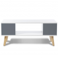 TABLE BASSE EFFIE BLANCHE / ANGLES GRIS ANTHRACITE 90X45X38CM