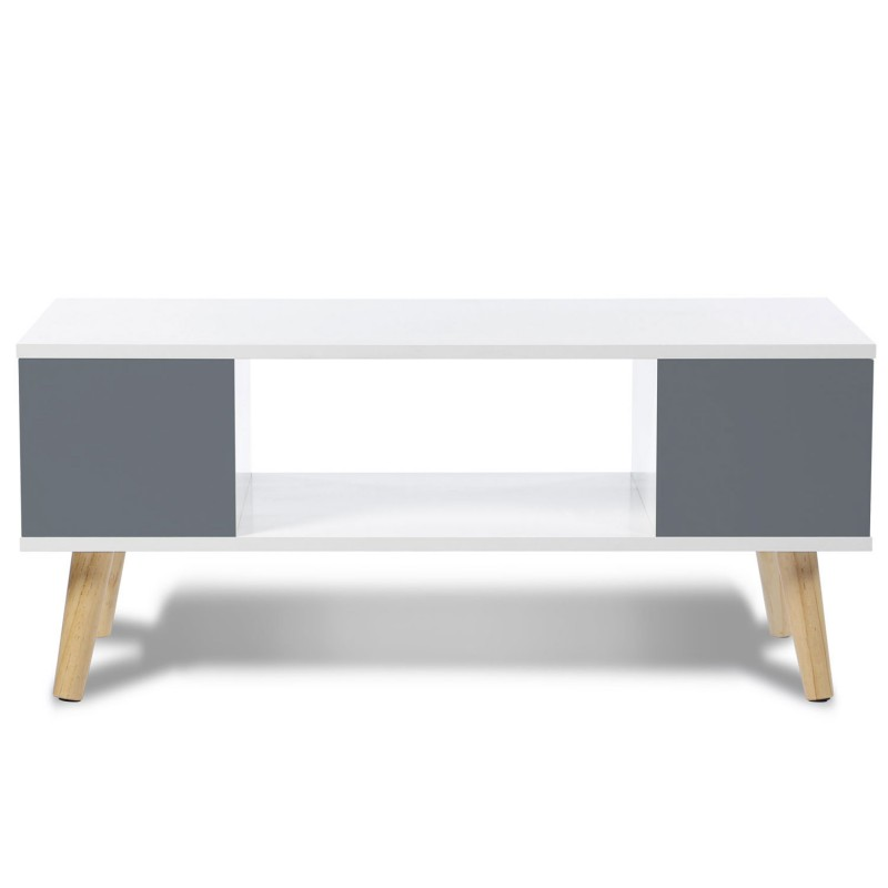 Table basse effie scandinave bois blanc et gris meubles et Table basse scandinave gris et blanc