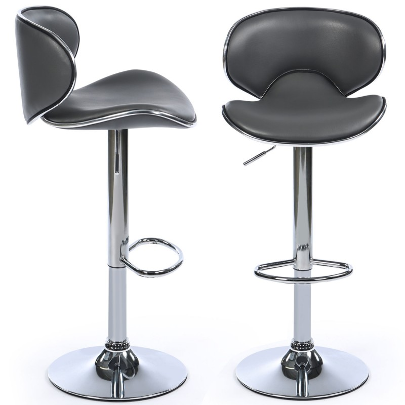 Lot de 2 tabourets de bar sam gris meubles et am nagement - Pied de tabouret bar chrome ...