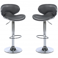TABOURET DE BAR SAM LOT X2 GRIS PIED CHROME