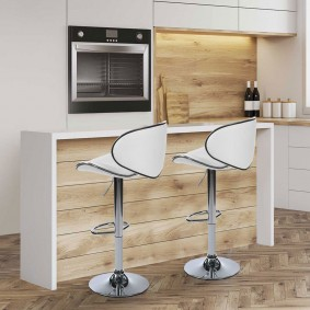 TABOURET DE BAR SAM LOT X2 BLANC PIED CHROME