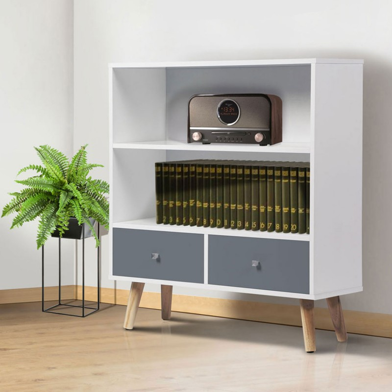 biblioth que effie scandinave bois blanc et gris meubles et am nag. Black Bedroom Furniture Sets. Home Design Ideas