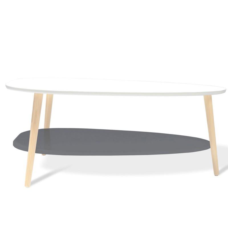 Table Basse Gigogne Elsie Laquee Blanc Et Gris Meubles Et Amenagement