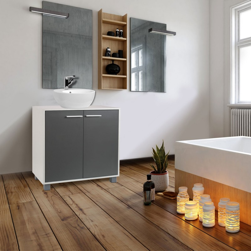 meuble sous lavabo gris pour vasque de salle de bain meubles et am. Black Bedroom Furniture Sets. Home Design Ideas