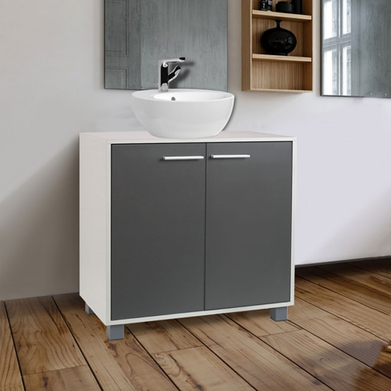 meuble sous lavabo gris pour vasque de salle de bain ebay. Black Bedroom Furniture Sets. Home Design Ideas