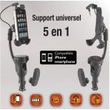 Supprt GSM bluetooth avec chargeur et oreillette intégrés
