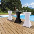 Lot de 2 tables hautes + 2 housses blanches
