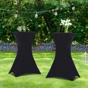 Lot de 2 tables hautes pliantes + 2 housses noires