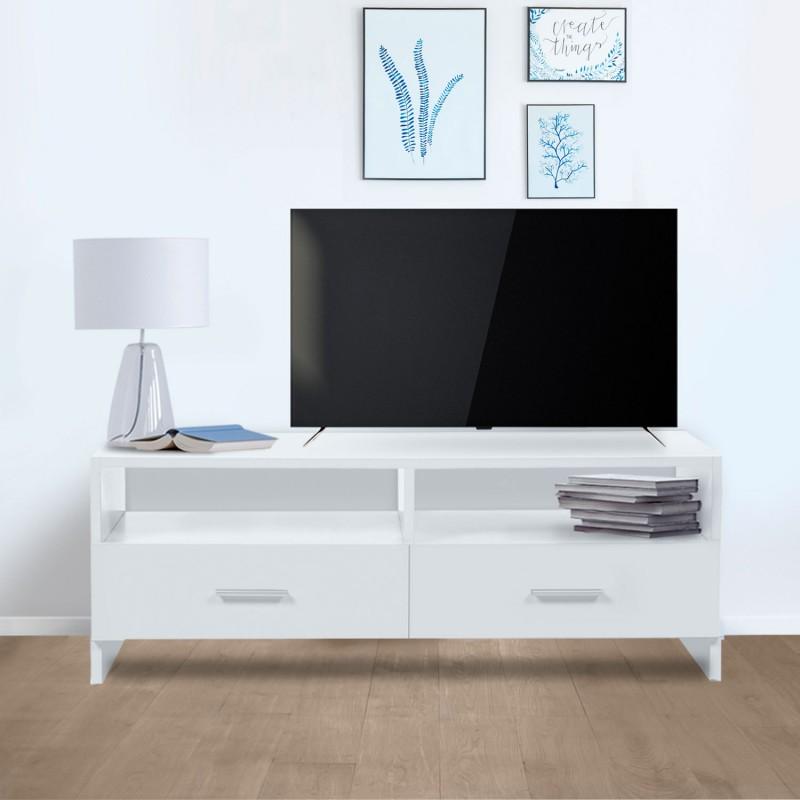 Meuble tv falko bois blanc meubles et am nagement - Meuble de maison et jardin en c 94 secondes ...