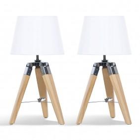 Lot de 2 lampes de chevet trépied en bois blanches