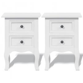 Lot de 2 tables de chevet blanches rétro en bois