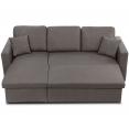 Canapé d'angle convertible Emma avec coffre de rangement gris