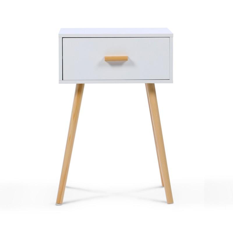 lot de 2 tables de chevet blanches scandinaves en bois meubles et