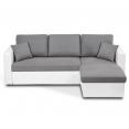 Canapé d'angle convertible Emma avec coffre de rangement blanc et gris