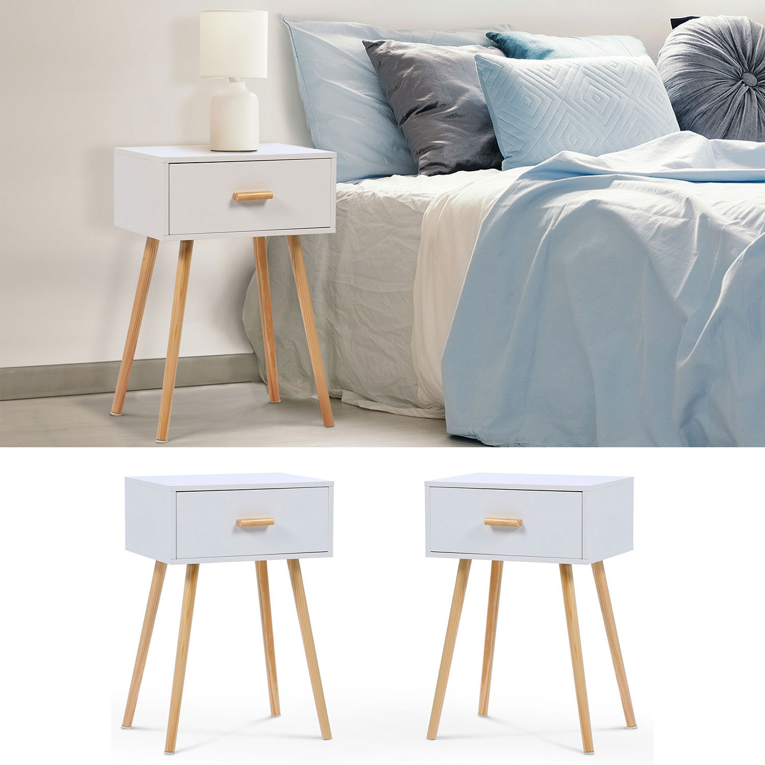 lot de 2 tables de chevet blanches scandinaves en bois. Black Bedroom Furniture Sets. Home Design Ideas