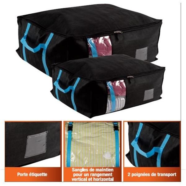 lot de 2 coffres housses avec 2 sacs de rangement sous. Black Bedroom Furniture Sets. Home Design Ideas
