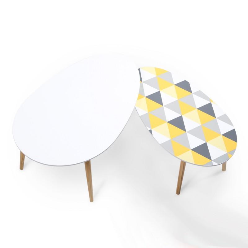 lot de 2 tables basses gigognes laqu es motifs pas cher. Black Bedroom Furniture Sets. Home Design Ideas