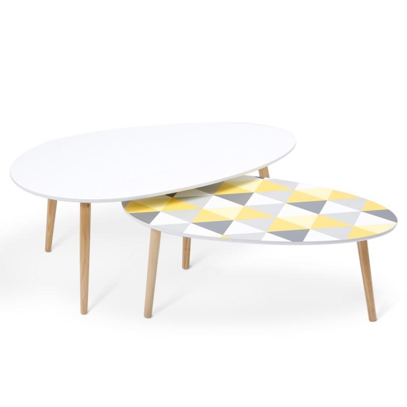 Lot de 2 tables basses gigognes laqu es motifs blanc - Table basse gigogne blanche ...