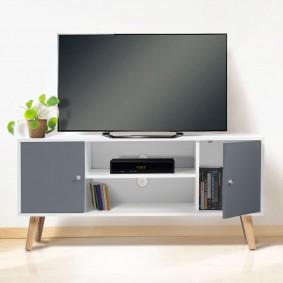 Meuble TV EFFIE bois blanc avec 2 portes grises scandinave