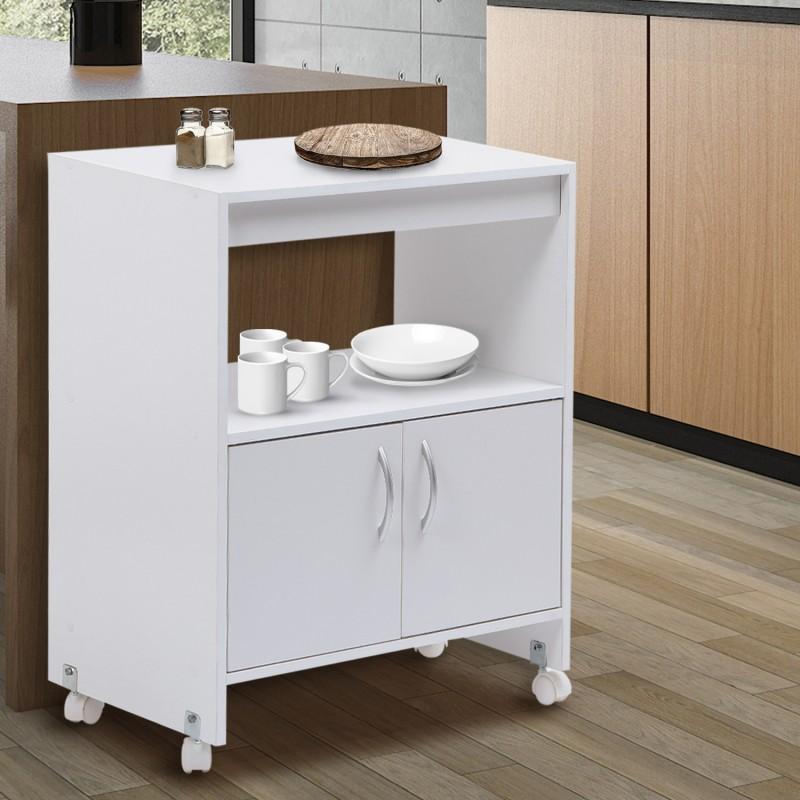 desserte de cuisine sur roulettes blanche l 60 cm meubles et am na. Black Bedroom Furniture Sets. Home Design Ideas
