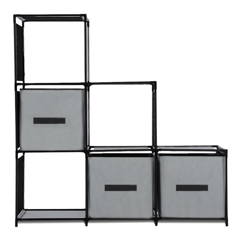 Etagere Escalier Modulable 6 Compartiments Noire Accessoires