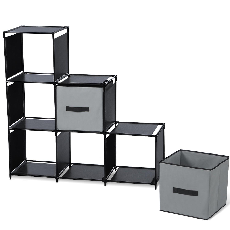 Escalier Modulaire Pas Cher Étagère escalier modulable 6 compartiments noire idmarket
