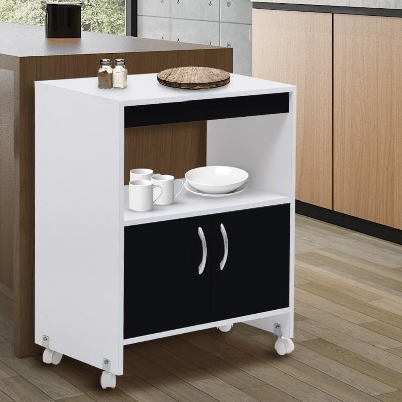 desserte de cuisine sur roulettes blanche et noire l 60 cm meubles. Black Bedroom Furniture Sets. Home Design Ideas