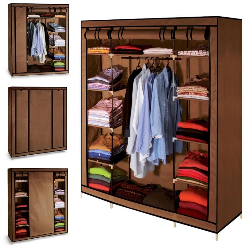 armoire de rangement chocolat dressing penderie xxl tissu ebay. Black Bedroom Furniture Sets. Home Design Ideas