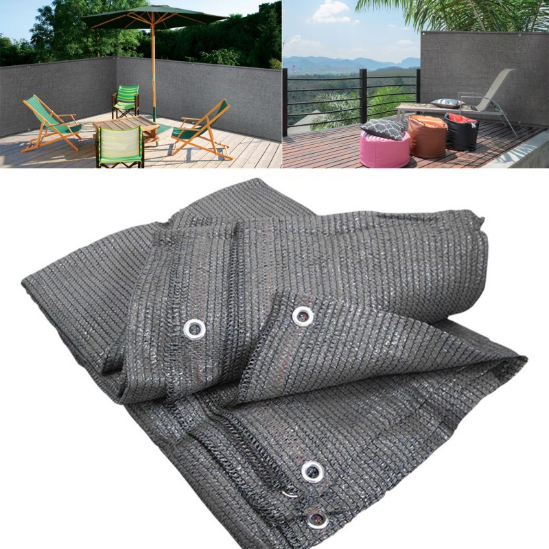brise vue gris 1 5m x 10m occultant 90g m id market. Black Bedroom Furniture Sets. Home Design Ideas
