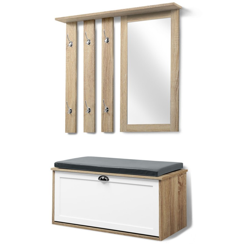 vestiaire d 39 entr e luxe en bois blanc et h tre meuble chaussures m. Black Bedroom Furniture Sets. Home Design Ideas