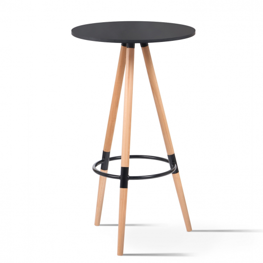 Table de bar ronde scandinave Sara noire