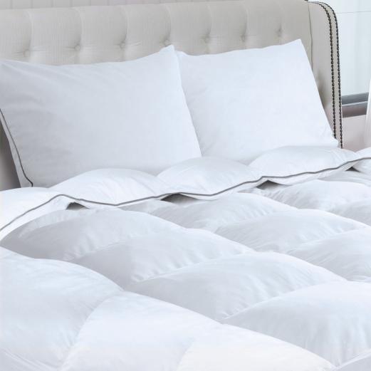 couette 240x220 cm 2 oreillers en plume d 39 oie 500g m anti acarie. Black Bedroom Furniture Sets. Home Design Ideas