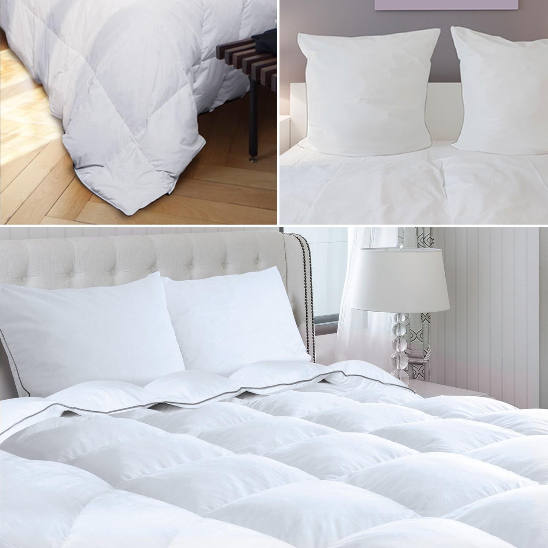 couette 240x260 cm 2 oreillers en plume d 39 oie 500g m anti acarie. Black Bedroom Furniture Sets. Home Design Ideas