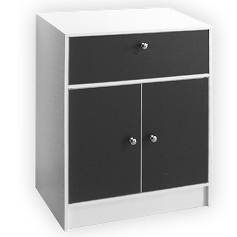 meuble bas de salle de bain blanc et gris commode de rangement ebay. Black Bedroom Furniture Sets. Home Design Ideas