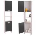 Colonne salle de bain H.170 cm en bois blanc/gris