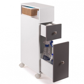 Meuble rangement WC sur roulettes 2 tiroirs gris