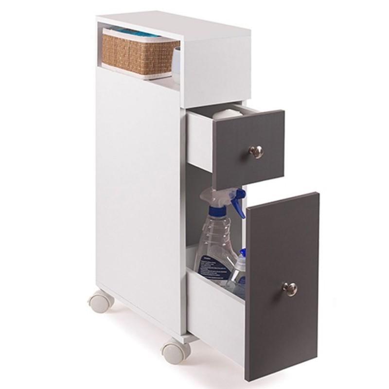 meuble rangement wc sur roulettes 2 tiroirs gris meubles et am nag. Black Bedroom Furniture Sets. Home Design Ideas