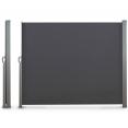 Paravent rétractable 300 x 140 cm store gris latéral enroulable